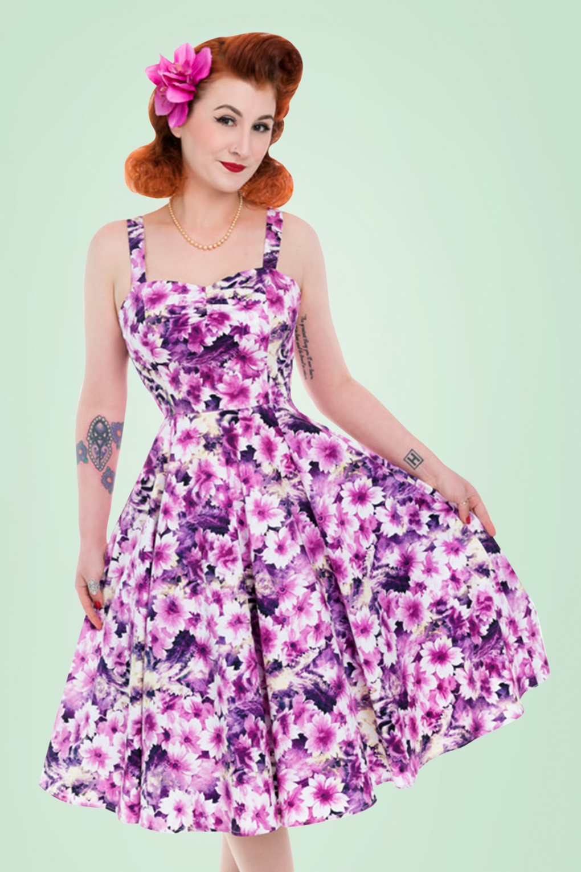 Swing Dresses   Vintage Inspired Dresses 50s Echinacea Floral Swing Dress in Purple £43.83 AT vintagedancer.com