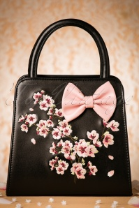 50s Carla Blossom Bow Handbag in Black and Pink