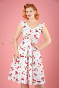 50s Sweet Cherries Swing Dress in White