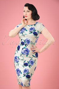 50s Marcia Floral Pencil Dress in Ivory
