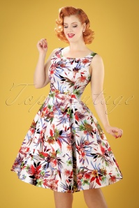 50s Lily Floral Swing Dress in White