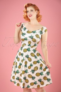 50s Emma Pineapple Swing Dress in White