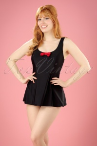 Banned Retro TopVintage Exclusive ~ 50s Shelley Bow Swimsuit in Black and Red