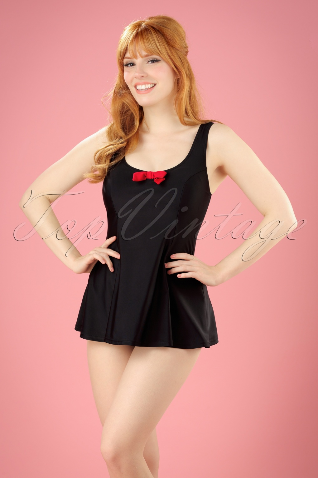 Vintage Inspired Retro Swimsuits TopVintage Exclusive  50s Shelley Bow Swimsuit in Black and Red £49.58 AT vintagedancer.com