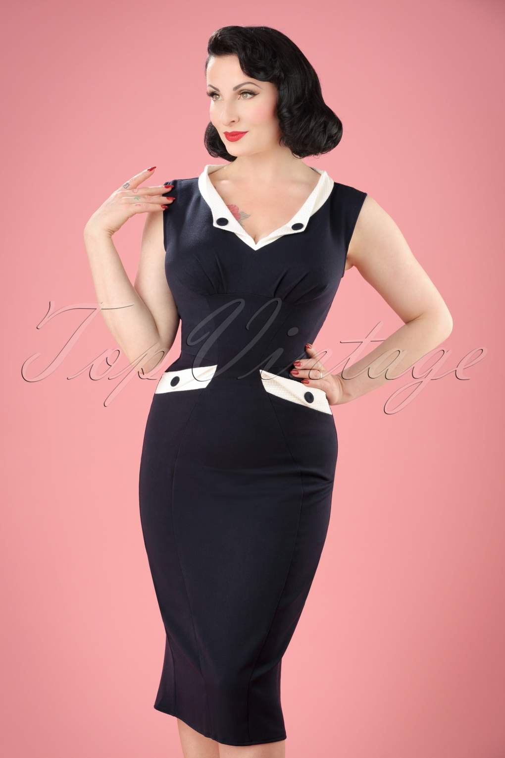 1960s Style Dresses- Retro Inspired Fashion 50s Signe Lee Pencil Dress in Navy and White £63.67 AT vintagedancer.com