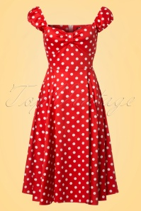 50s Spotty Polkadot Swing Dress in Red