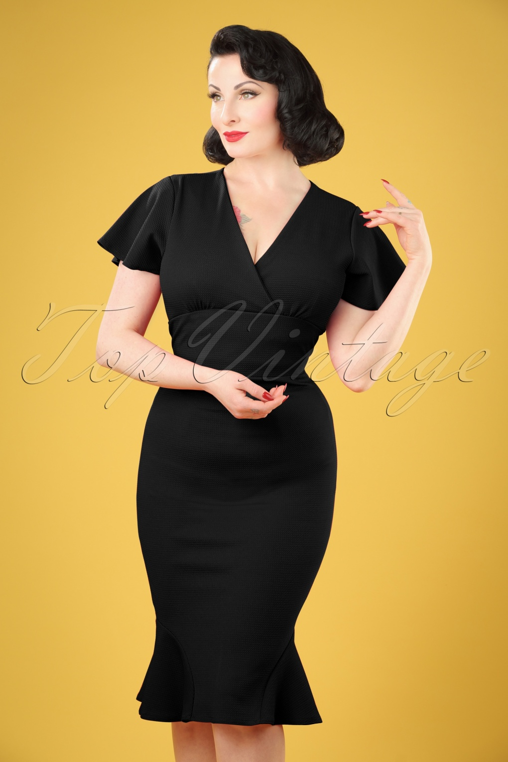 1940s Pinup Dresses for Sale 50s Peggy Waterfall Pencil Dress in Black £25.00 AT vintagedancer.com