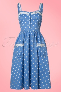 50s Corinna Polkadot Swing Dress in Sky Blue