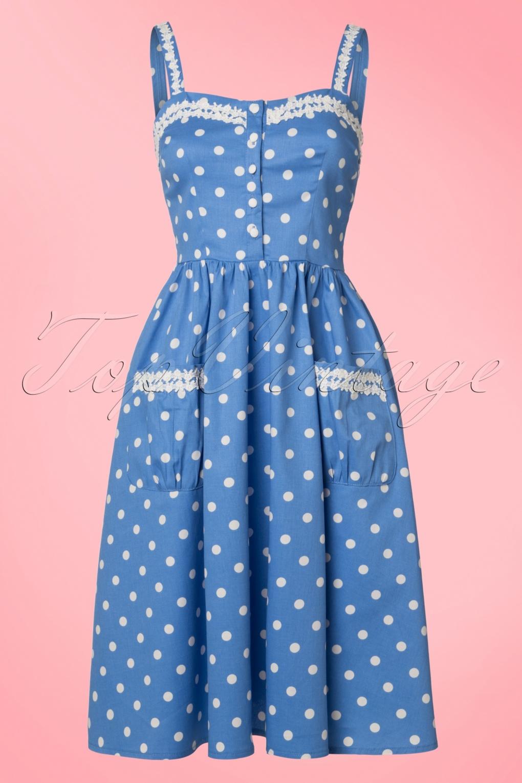 1940s Pinup Dresses for Sale Corinna Polkadot Swing Dress in Sky Blue £44.23 AT vintagedancer.com