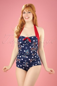 50s St Tropez Swimsuit in Navy