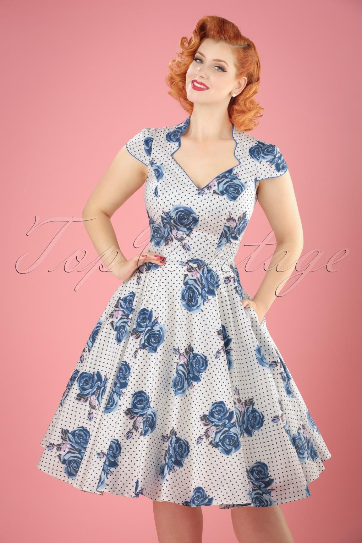 Swing Dresses   Vintage Inspired Dresses 50s Lori Roses Swing Dress in Blue and White £61.38 AT vintagedancer.com