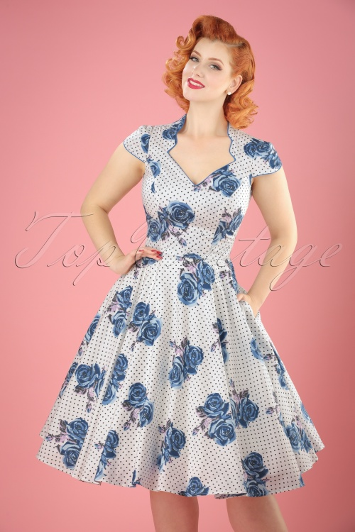 Bunny Lori 50s White Blue Floral Dress 102 59 21077 20170420 04W