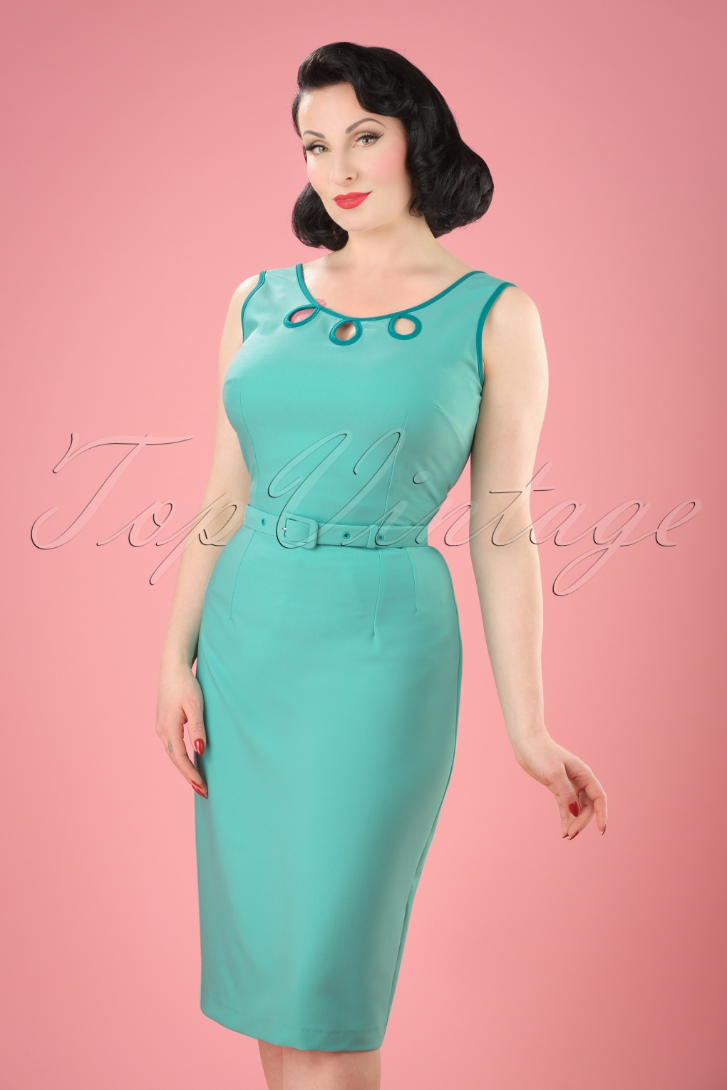 1940s Pinup Dresses for Sale 50s Karen Pencil Dress in Mint Blue £63.68 AT vintagedancer.com