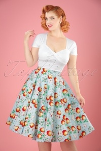 Bunny Somerset 50s Apple Swing Skirt in Blue 122 39 21055 20170406 01W