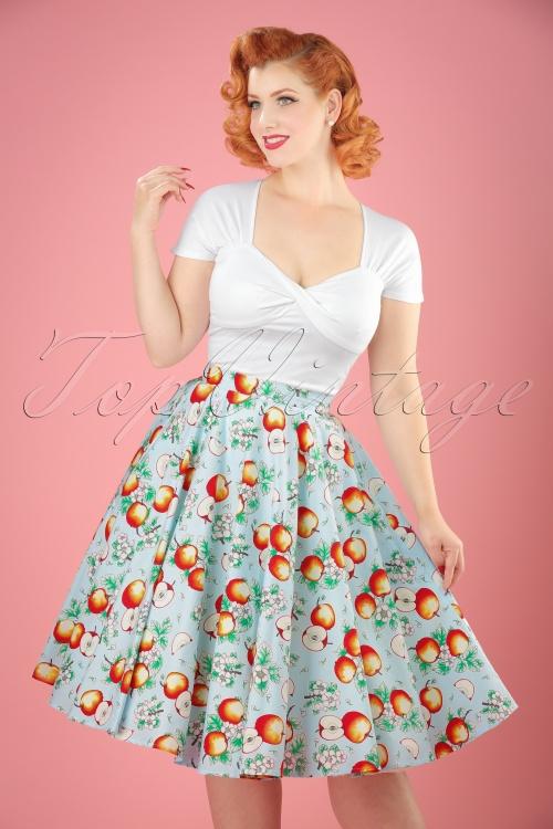Bunny Somerset 50s Apple Swing Skirt in Blue 122 39 21055 20170406 01W