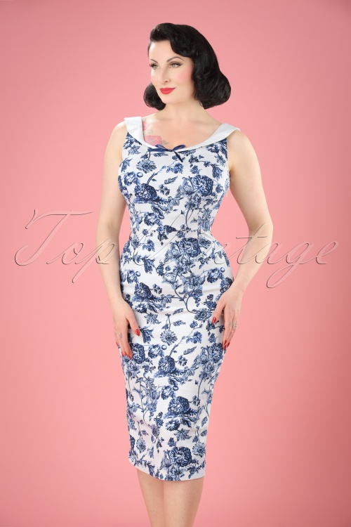 Collectif Cloting MaddisonToile Floral Pencil Dress  17711 20151119 2W