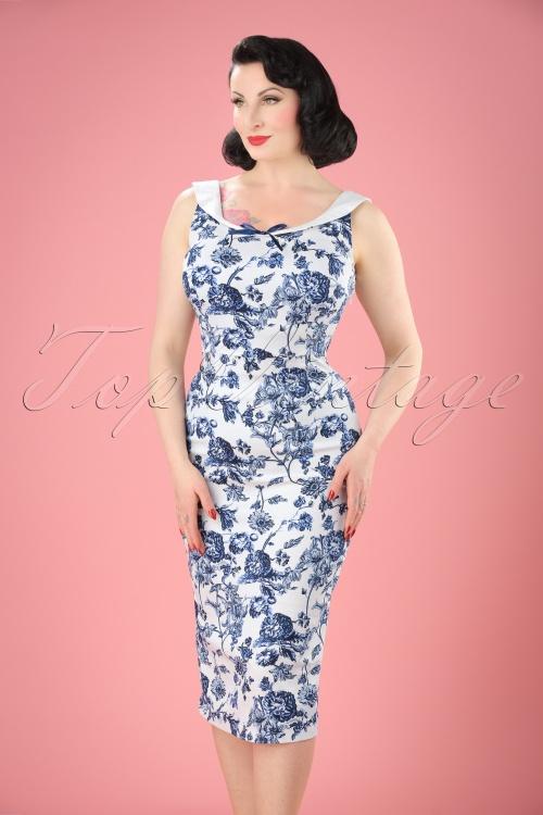 Collectif Cloting MaddisonToile Floral Pencil Dress  17711 20151119 2W