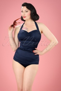 Classic Fifties One Piece Swimsuit Années 50 en Bleu Marine