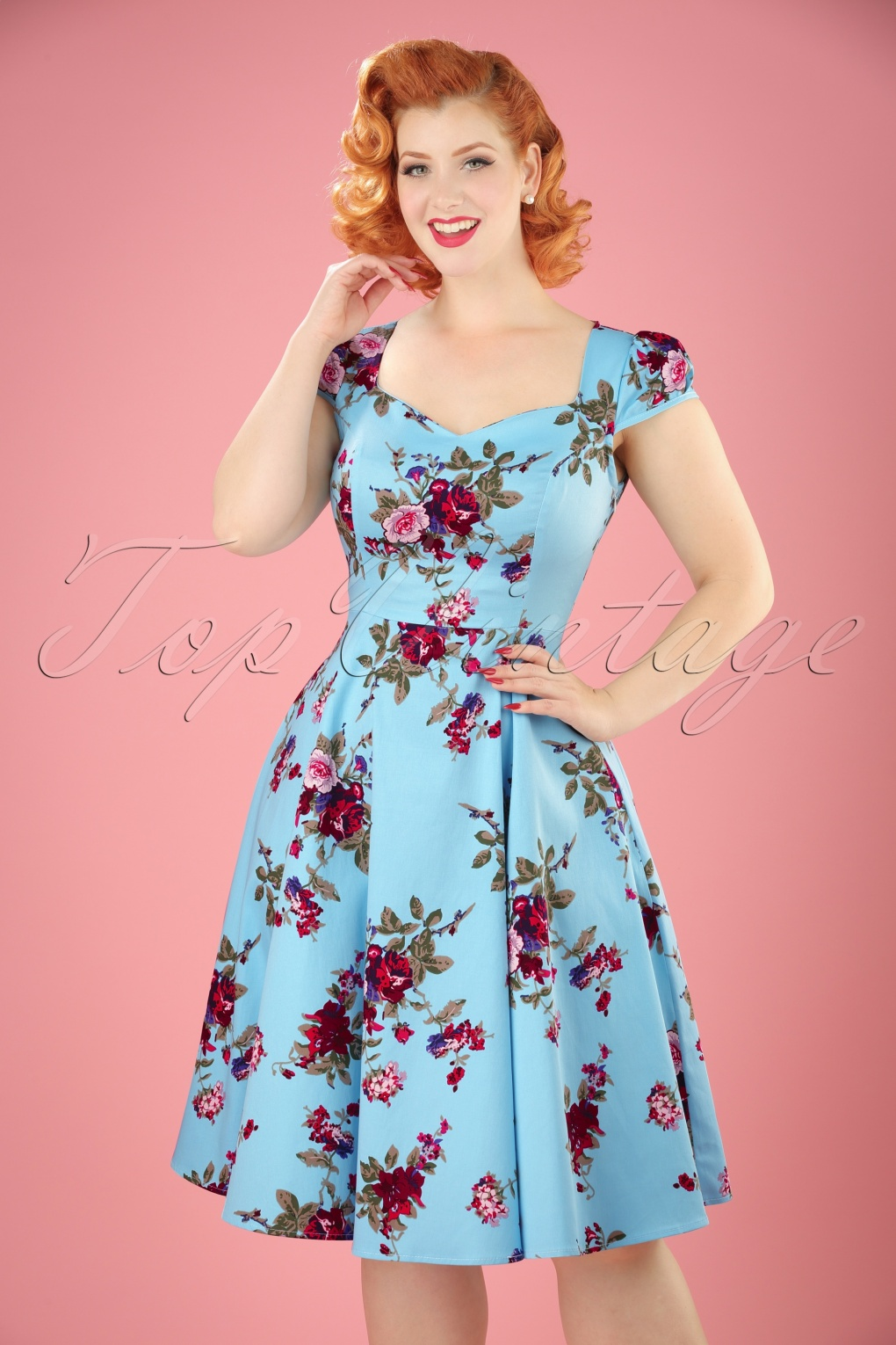 50s Bonnie Floral Swing Dress In Light Blue