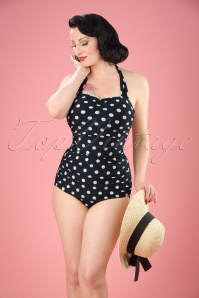 classic fifties one piece Badeanzug polka Black White