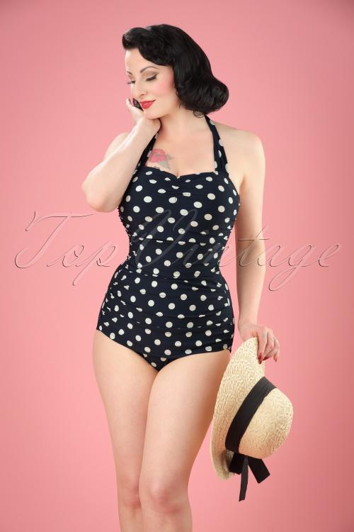 d4f95c745f01c classic fifties one piece swimsuit polka Black White
