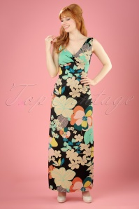 60s Ginger Fiesta Maxi Dress in Black