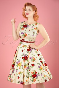 50s Hepburn Roses Swing Dress in Cream