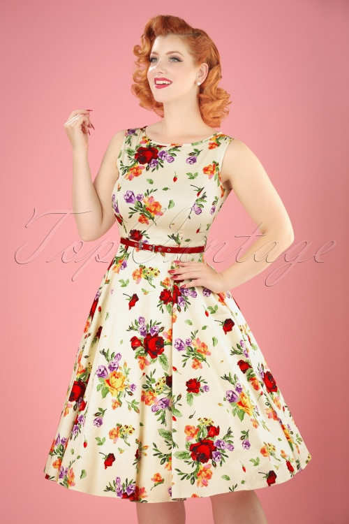 Lady Vintage Hepburn Roses Swing Dress 102 59 21192 20170331 0013W
