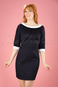 50s Prudence Pencil Dress in Navy