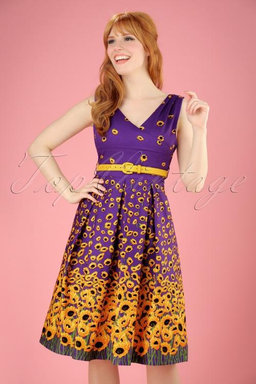 Lindy Bop Valerie Purple Sunflower Dress 102 69 21234 20170411 0011W