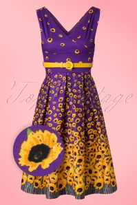 Lindy Bop Valerie Purple Sunflower Dress 102 69 21234 20170411 0002V