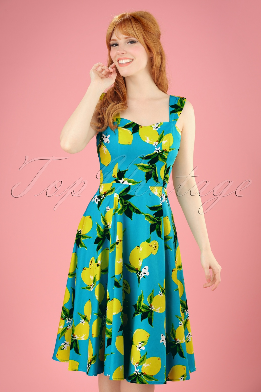 983e619b44b0 50s Nancy Lemon Swing Dress in Aqua Blue