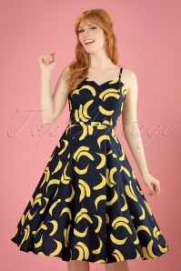 50s Simona Banana Swing Dress in Navy