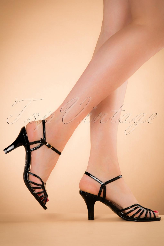 1940s Style Shoes 40s Amelia Sandals in Black £48.62 AT vintagedancer.com