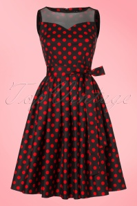 Dolly and Dotty Elizabeth Black Red Polkadot Swing Dress 102 14 20332 20170328 0016W