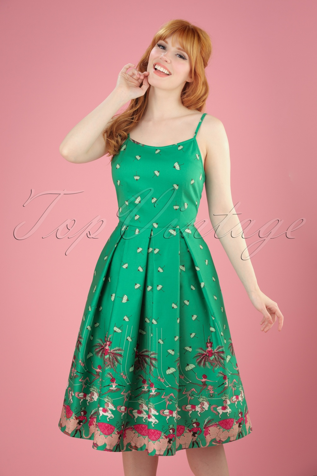 1940s Pinup Dresses for Sale 50s Evelyn Circus Swing Dress in Green £45.29 AT vintagedancer.com