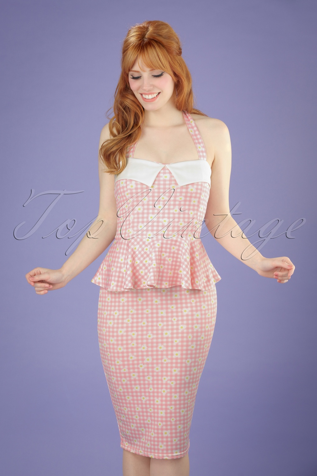 Wiggle Dresses | Pencil Dresses 50s Rachel Checked Halter Pencil Dress in Pink and White £32.20 AT vintagedancer.com