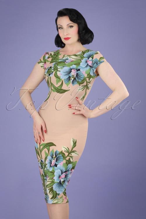 Vintage chic 60s Alhoha Nude Pencil Dress 100 29 20889 20170418 1W