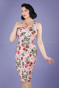 Vintage chic 60s Aloha Pink Pencil Dress 21956 20170418 1W