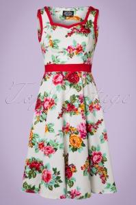 Lizzy Rose Swing Dress Années 50 En Ivoire