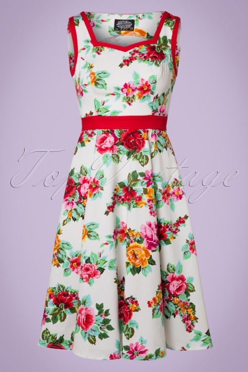 Hearts and Roses White Floral Swingdress 21730 20170523 0008W