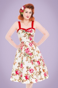 Hearts & Roses Cream Floral Swing Dress 102 57 21737 20170523 01