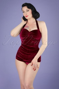 50s Classic Sheath Velvet Swimsuit in Burgundy