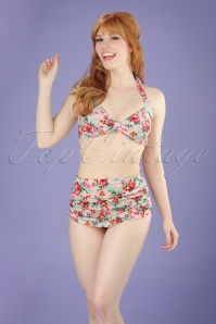 50s Romance Floral Bikini in Cream