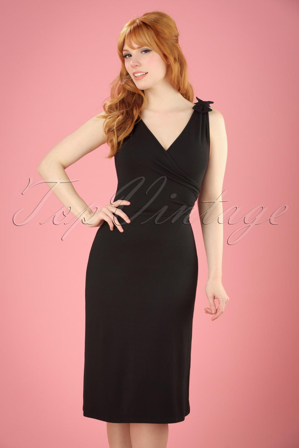 Vintage Inspired Cocktail Dresses, Party Dresses 50s The Janice Dress in Black £52.64 AT vintagedancer.com