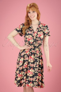 40s Strict Marlies Dress in Black Winning Bouquet