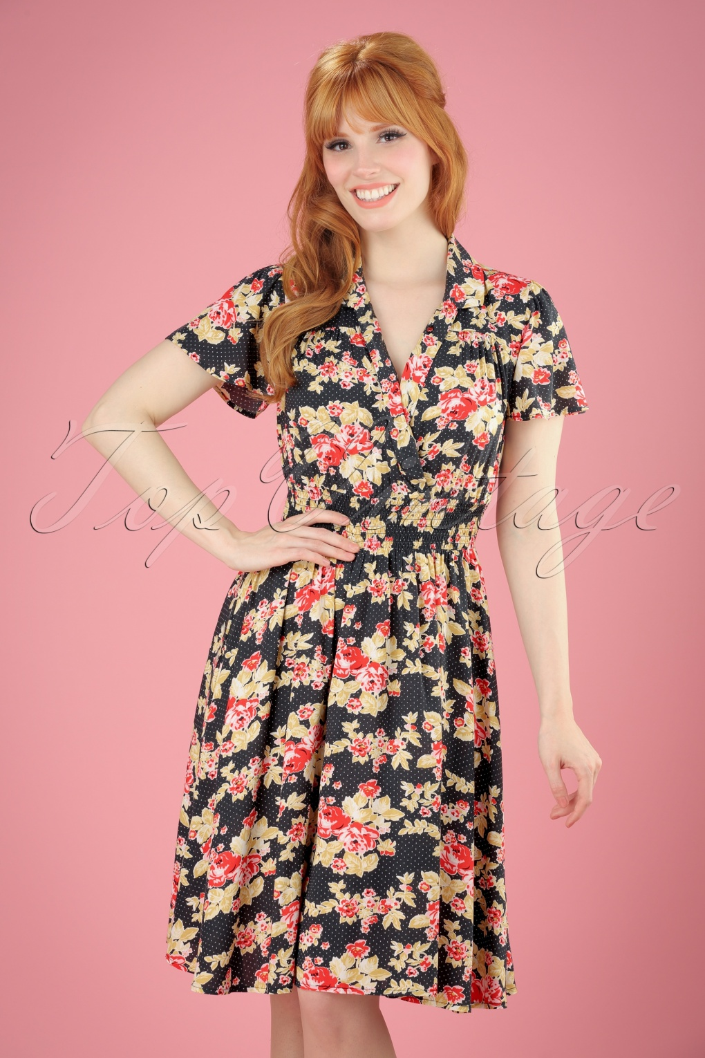 1940s Style Dresses and Clothing 40s Strict Marlies Dress in Black Winning Bouquet £55.39 AT vintagedancer.com