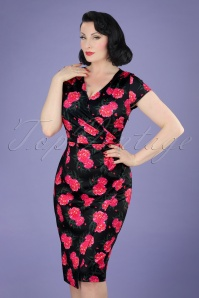 50s Georgiana Camellia Flower Pencil Dress in Black