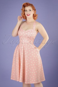 50s Judith Checked Swing Dress in Pink and White