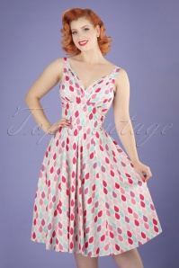 50s Odessa Summer Leaf Swing Dress in Pink
